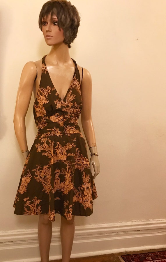 Vintage Style Romantic Toile  Brown and Pink Cott… - image 2