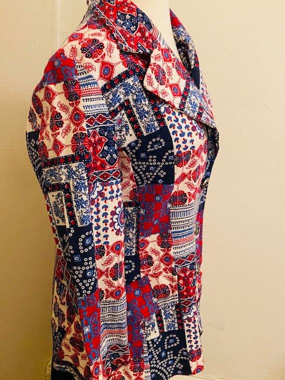 60's Cotton Bandanna Like Patchwork Print Ladies … - image 6