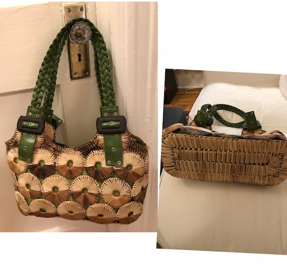 60's tan and brown straw tote with avocado green p