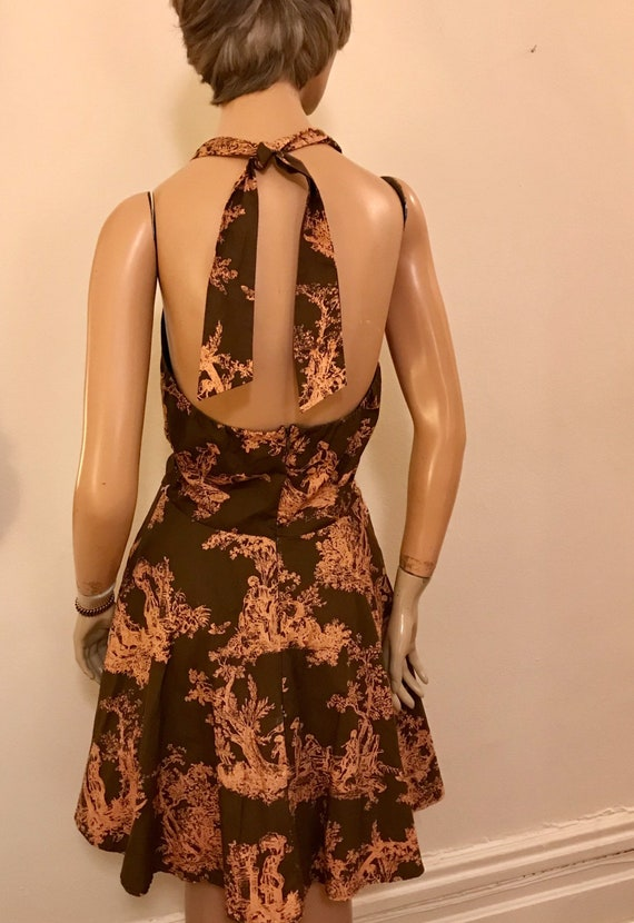 Vintage Style Romantic Toile  Brown and Pink Cott… - image 3