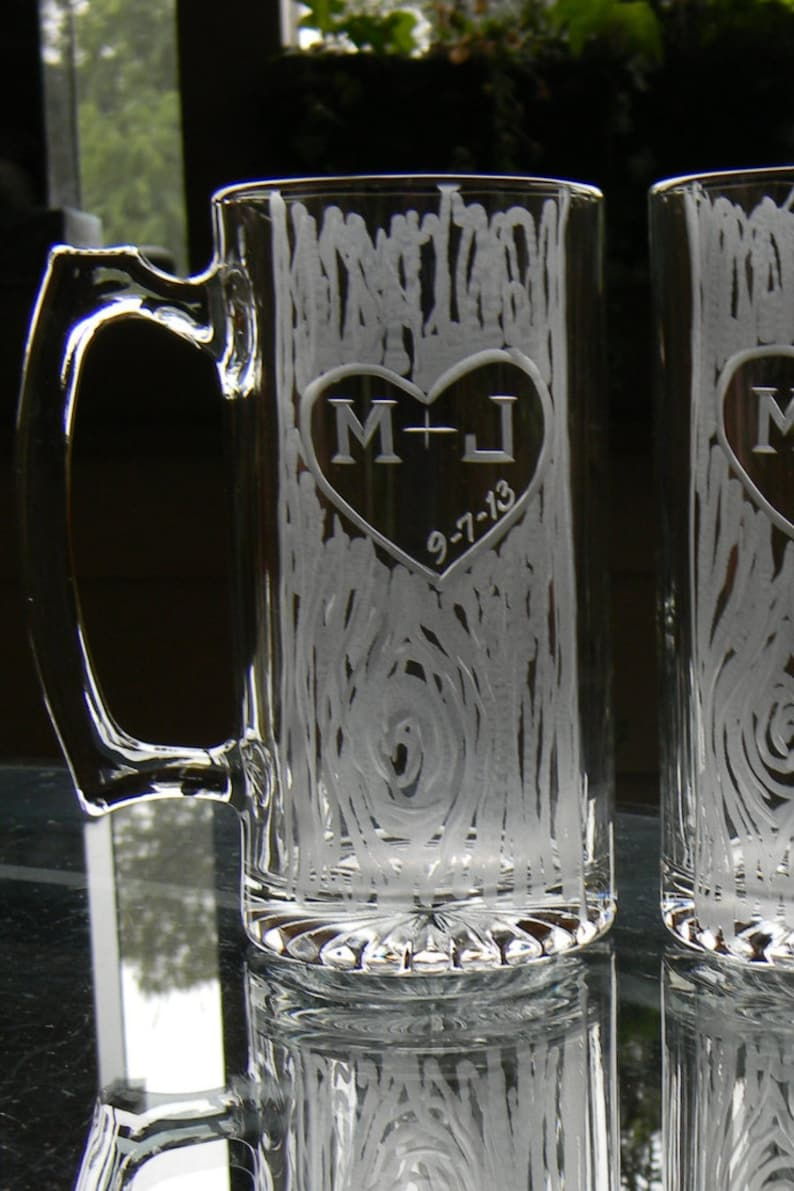One Single Personalized Hand Engraved 25oz Beer Mug with image 0