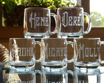 Glass Coffee Mugs Personalized with name Set of 6 - 13oz each
