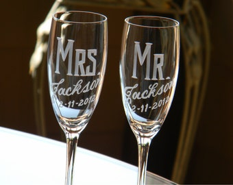 Personalized Wedding Mr & Mrs Champagne Flutes, Set of 2