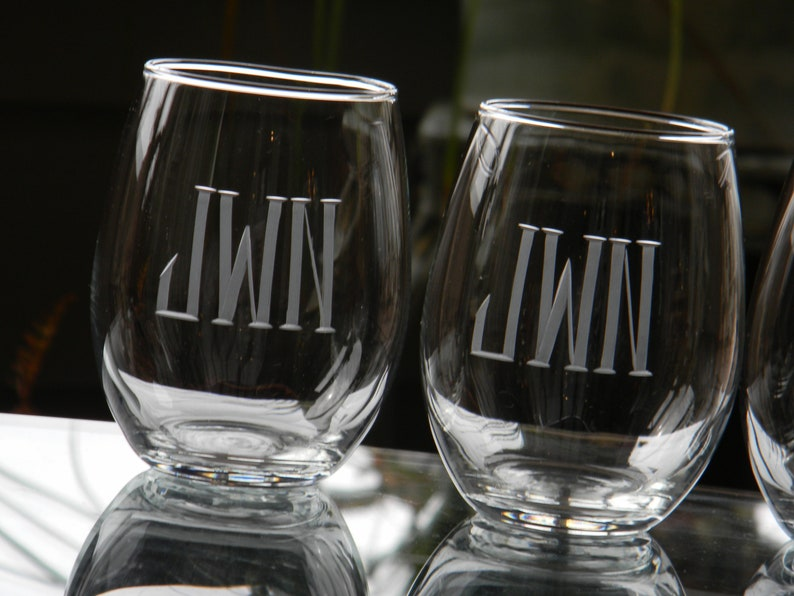 Personalized Stemless Wine Glass Tumblers Engraved with Thick and Thin
