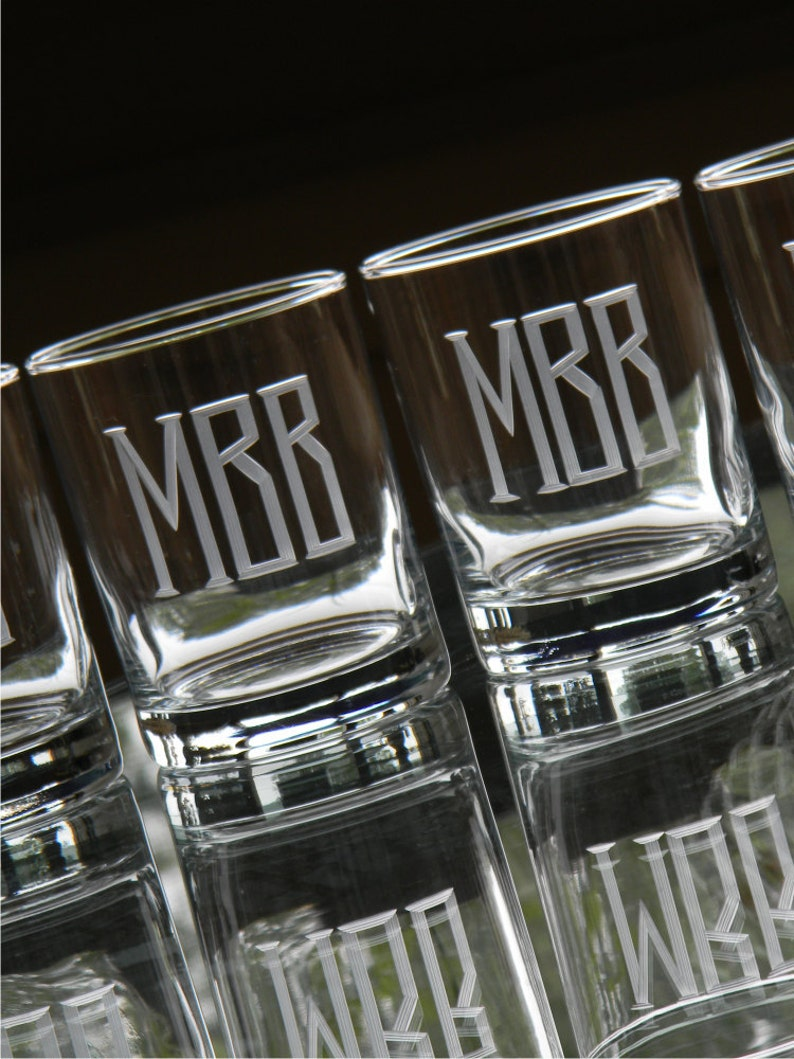 Double Old Fashion Rocks Glasses Engraved with Initials  Set image 0