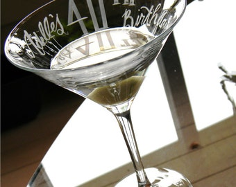 """Personalized """"40th Birthday"""" Martini Glass with name and date"""