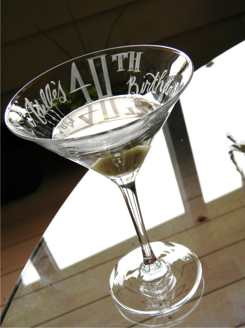 Personalized 40th Birthday Martini Glass with name image 0