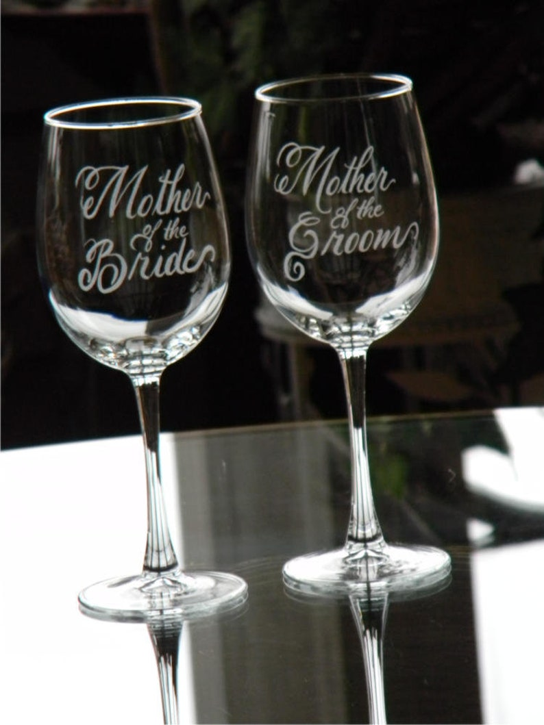 Mother of the Bride and Groom Wine Glasses Personalized with image 0