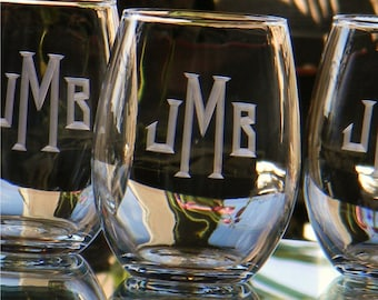 Personalized Stemless Wine Glass Tumblers Engraved with Monogram, Set of 6 -  Birthday. New Home. Engagement
