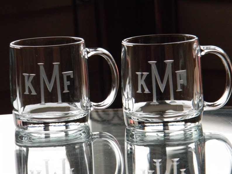 Monogrammed Glass Coffee Mug  13 oz Hand Engraved image 0