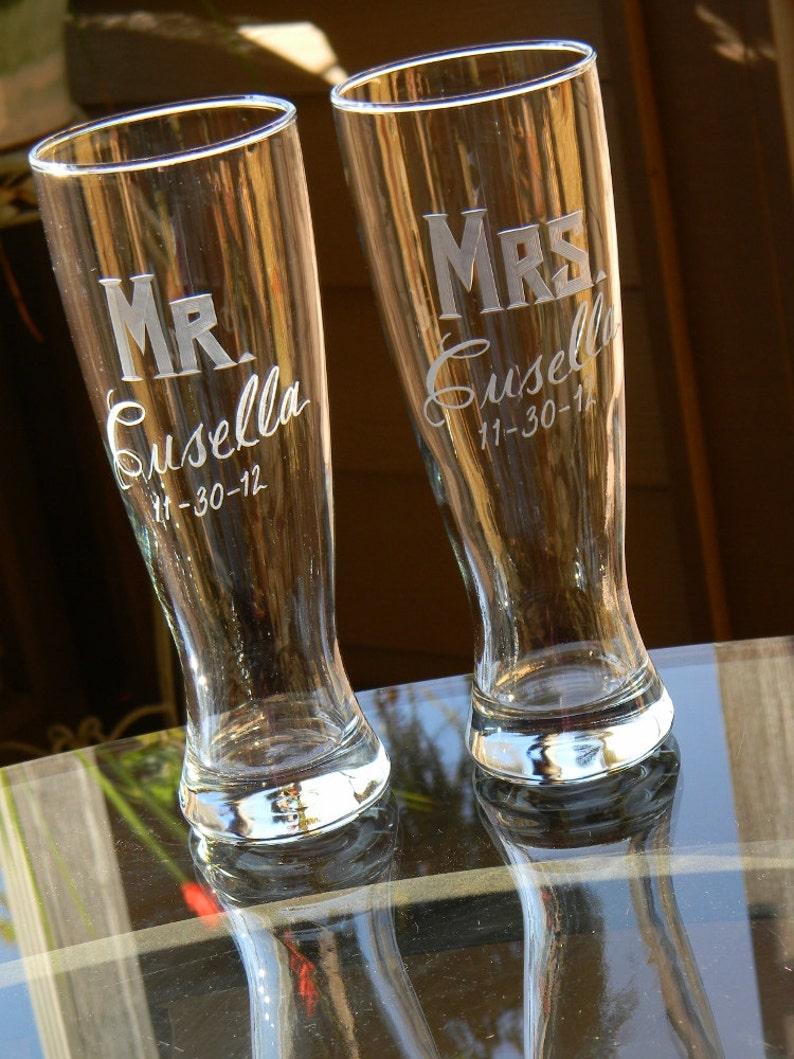 MR & MRS Hand Engraved Pilsner Beer Glasses with Last Name. image 0