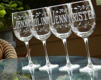 Set of 4-  Wine Glasses Personalized with Name on each