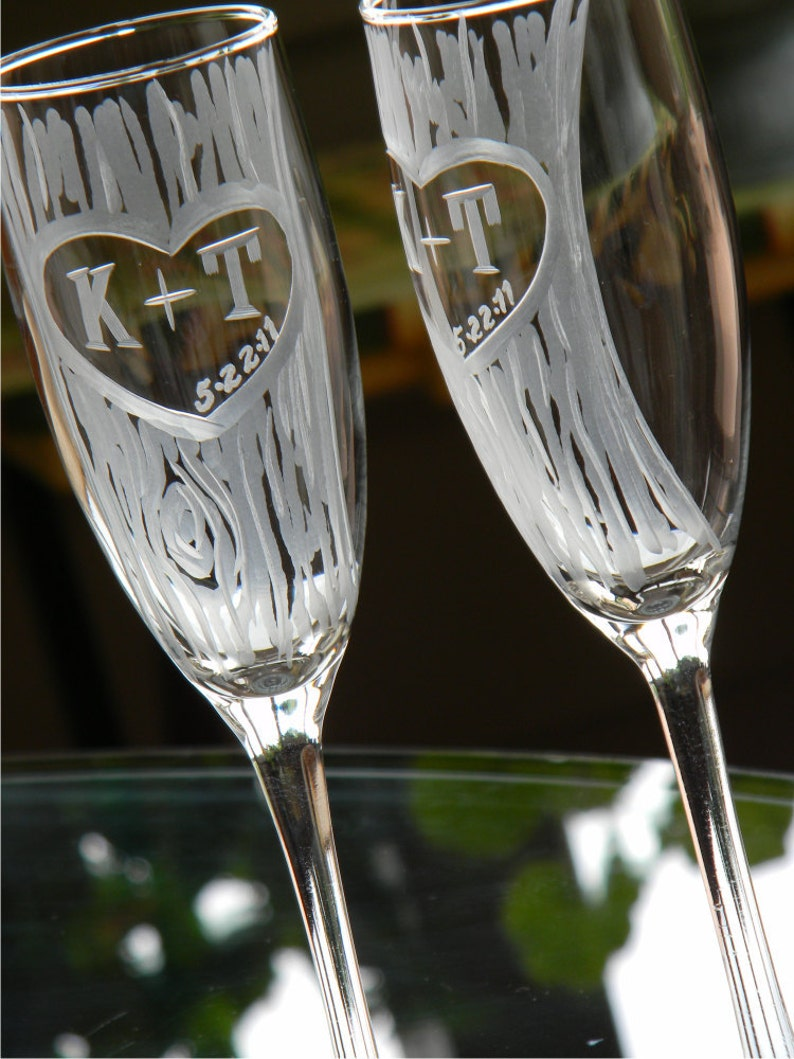 Champagne Glasses with Hand Carved Tree and Heart Design with image 0