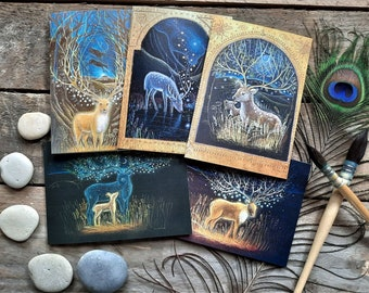 The Deer's Dream Card Pack of 5 Greetings Cards by Hannah Willow featuring Deers in the English Countryside