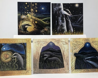The Owl/'s Dream Card Pack of 5 Greetings Cards by Hannah Willow featuring Owls in the English Countryside