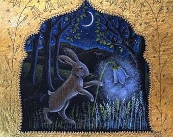 Harebell Lantern signed limited edition giclee print. Hare print. Landscape print. rabbit print