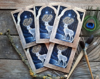 Midwinter Christmas Card Pack of 5 A6 Cards. Deer Cards