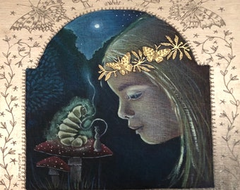 Meeting the Caterpillar giclee print. Alice in wonderland print