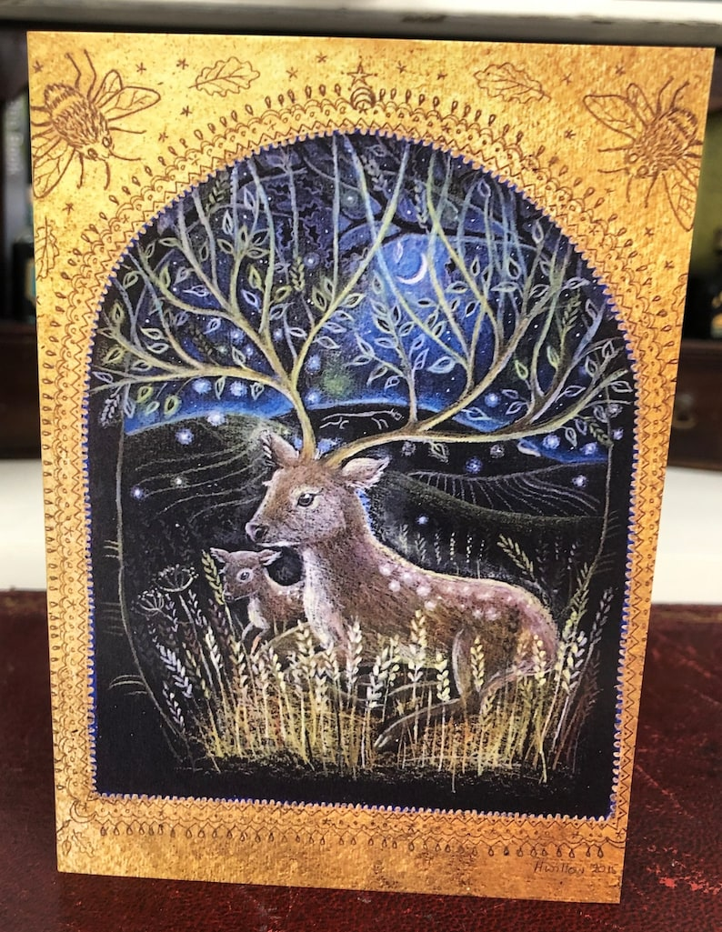 Deer The Beautiful Moon Card Pack of 5 Greetings Cards by Hannah Willow featuring Owls Hares Badger and fox