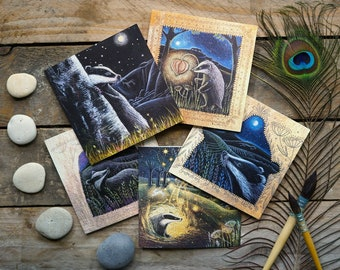 The Badger's Dream Card Pack of 5 Greetings Cards by Hannah Willow featuring Badgers in the English Countryside