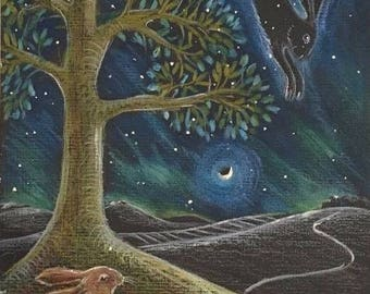 Lammas night giclee print. Hare print. Tree picture. Limited edition