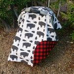 Boys Car Seat Cover, Bison and Buffalo Plaid