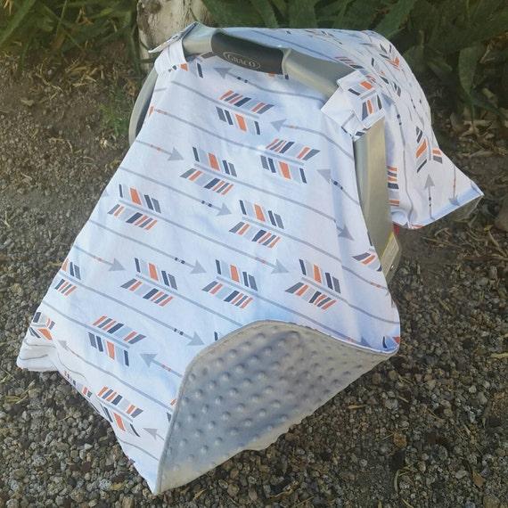Tribal Arrow Car Seat Canopy Baby Cover Grey