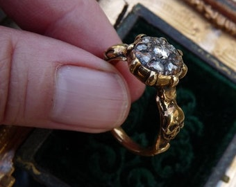 Antique Georgian Victorian Ladies Memento Mori Cluster Gold Skull Ring, A Talisman for the Alchemist, offered by RusticGypsyCreations