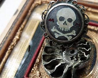 Antique European Memento Mori Skull and Crossbones Ring, Talisman for the Alchemist, by RusticGypsyCreations