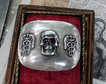 SALE:  Antique Victorian Memento Mori Skull & Caduceus Pill Snuff Box, Alchemical Talisman, offered by RusticGypsyCreations