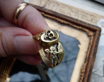 Antique Memento Mori Skull Ring, Talisman for the Alchemist & Wild at Heart, offered by RusticGypsyCreations