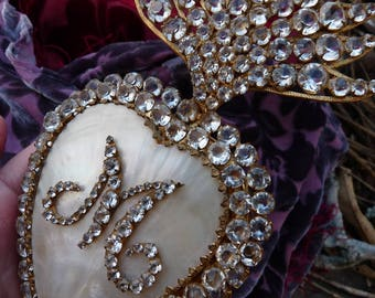 Antique Victorian French Mother of Pearl Paste Flaming Heart, A Devotional Talisman, offered by RusticGypsyCreations