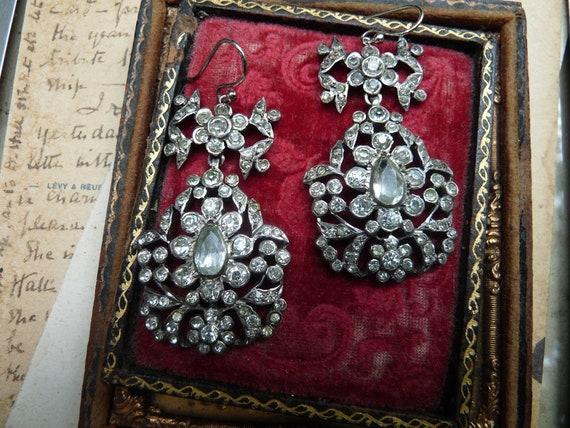 Antique Paste Girandole Earrings, Georgian Victori