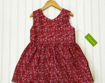 Floral Red and White Scoop Back Top  (XXL)