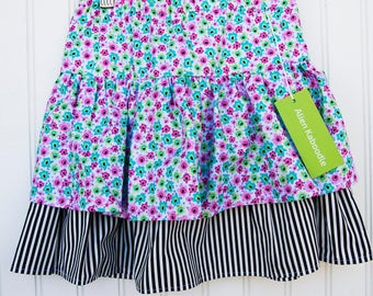 Double  Ruffle Skirt - Floral and Stripes (XL)