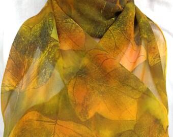 silk scarf unique long Fallen Leaves chiffon hand painted wearable art women fashion accessory gold green