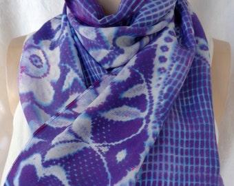 silk scarf crepe Blue Violet Purple Floral lace unique hand painted long wearable art women