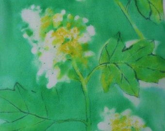 silk scarf hand painted Oak Leaf Hydrangea morgansilk wearable art green emerald white floral unique