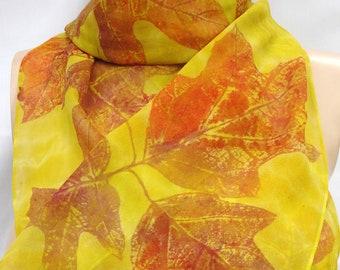 silk scarf hand painted chiffon Hydrangea Leaf long gold copper unique wearable art women fashion autumn