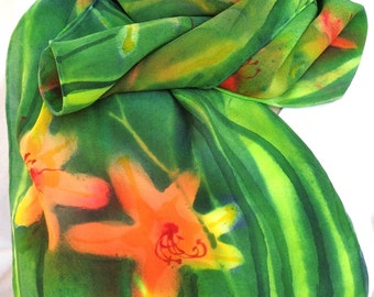 silk scarf Daylily crepe unique hand painted orange green wearable art women floral signed art