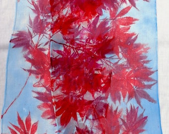 silk scarf extra long chiffon Red Maple hand painted unique accessory women wearable art morgansilk scarves blue scarlet wrap shawl