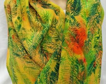 silk crepe scarf extra long hand painted Sunset Norway Spruce wearable art women wrap luxury peach jade green morgansilk