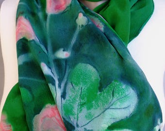 silk scarf long large crepe Hollyhock hand painted emerald green pink floral unique wearable art women wrap shawl luxury