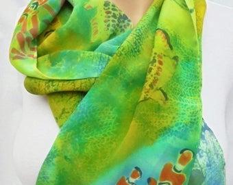 silk scarf crepe hand painted Coral Reef wearable art women unique ocean fish luxury unique
