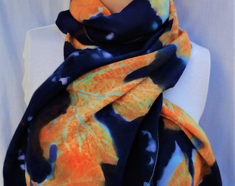 silk crepe scarf extra long hand painted Autumn Grapes wearable art women wrap luxury orange deep blue morgansilk