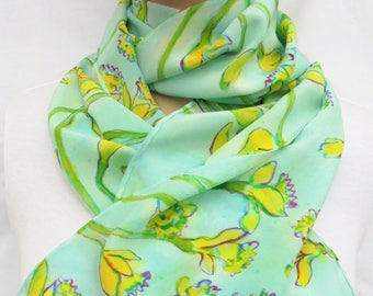 silk scarf long crepe Fresh Daffodils hand painted green yellow blue wearable art women spring unique