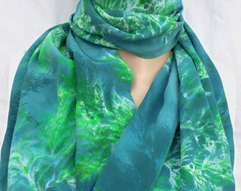 silk scarf hand painted crepe large long Undersea Coral unique luxury wearable art women slate blue green white original
