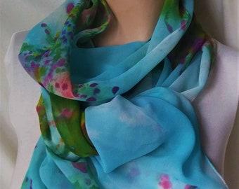 silk scarf extra long chiffon wearable art sky blue crepe myrtle unique morgansilk scarves wrap shawl