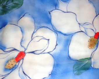 silk scarf long chiffon Magnolia unique hand painted navy blue white floral wearable art women fashion spring summer
