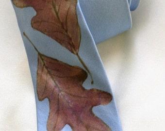 silk necktie Oak Leaves blue sky men unique luxury hand painted